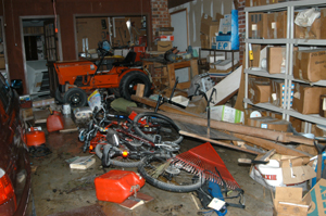 Things scattered in garage after Hurricane Katrina.