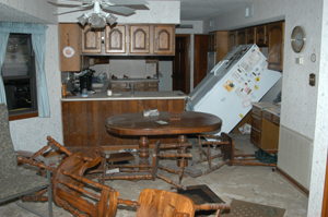 Kitchen after Hurricane Katrina.