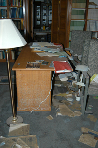 Desk in library after Katrina.
