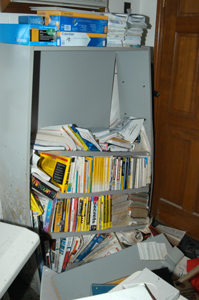 Bookcase destroyed.