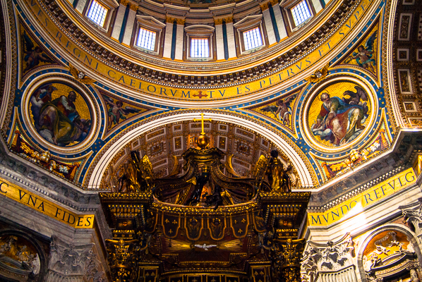 View towards the dome in St. Peter's Basilica.