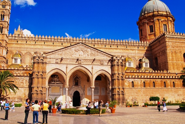 Outside view of Cathedral in Palermo.