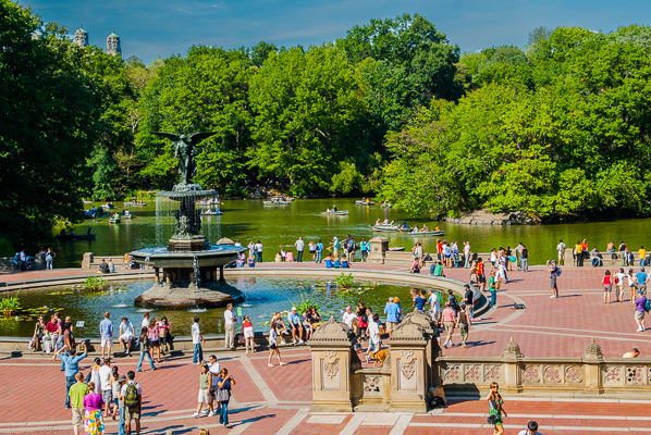 Fountain and boating in Central Park.