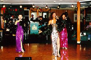 Las Vegas type entertainment in the lounge of the Commodore cruise ship.