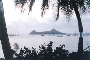 View of Pigeon Island in the distance.