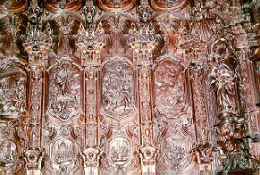 Wood carvings in mosque in Cordoba, Spain.