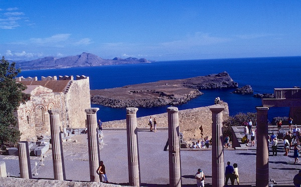 Castle and Harbor at Lindos, Rhodes, Greece.