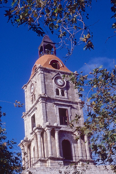 Clock Tower in Rhodes Medieval Town, Greece.