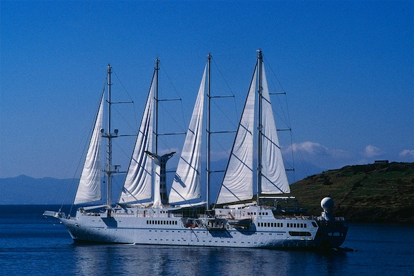 Wind Star cruise ship with sails cruising the Greek Isles and Turkish ports.